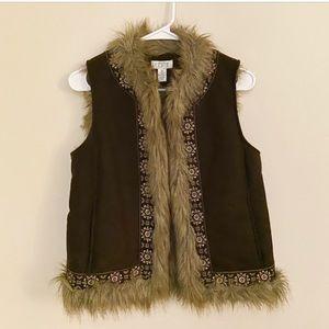 Ann Taylor Loft fur vest xs